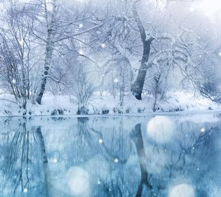 Обои на телефон холод, снег, река, зима, деревья, cold winter river