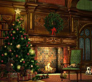 Обои на телефон счастливое, рождество, дерево
