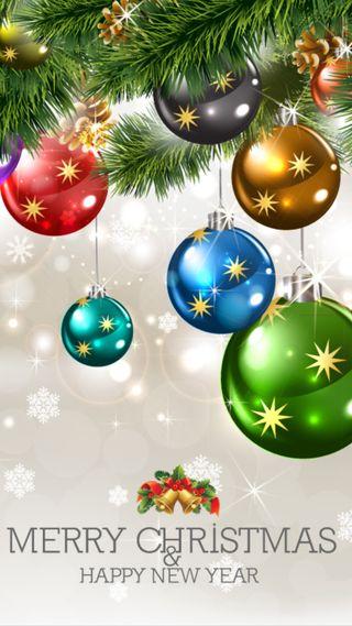 Обои на телефон шары, год, украшение, счастливые, сосна, снежинки, слова, рождество, поговорка, новый, дерево