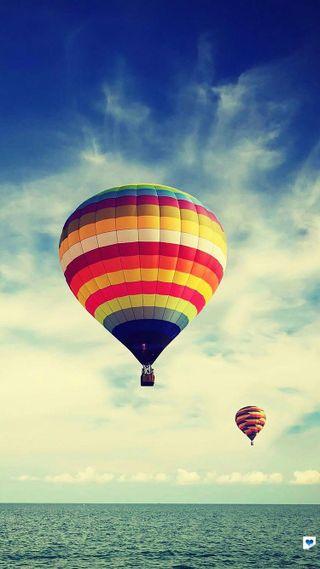 Обои на телефон цветные, небо, море, воздушный шар