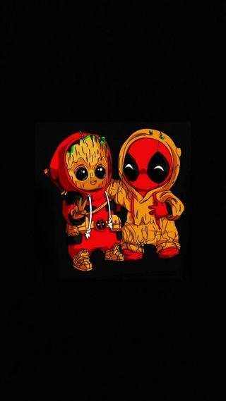 Обои на телефон грут, мстители, марвел, дэдпул, герой, marvel, groot and deadpool, anti-hero