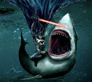 Обои на телефон против, бэтмен, jaws, batman vs jaws