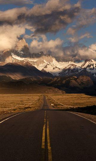 Обои на телефон природа, пейзаж, облака, небо, дорога, горы, landscape sky