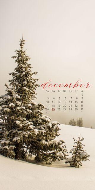 Обои на телефон 12.cal, snow tree, снег, дерево, календарь, декабрь