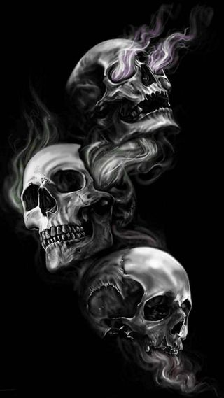 Обои на телефон зло, череп, no evil, 3evils