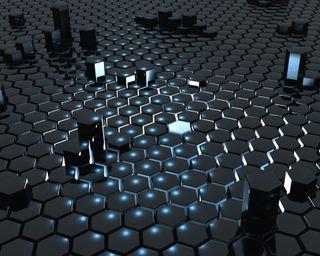 Обои на телефон шестиугольники, куб, черные, синие, огни, абстрактные, 3д, 3d