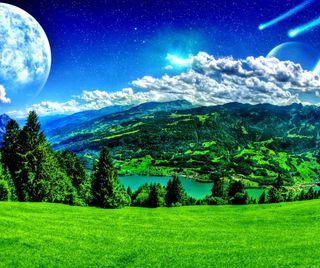 Обои на телефон планеты, фантазия, природа, пейзаж, небо, plateau, nature wallpapers
