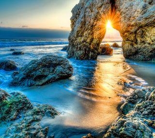 Обои на телефон океан, море, камни, закат, вид, seascape
