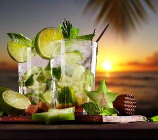 Обои на телефон свежие, тропические, ночь, напитки, лимон, лето, закат, вид, вечер