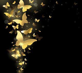 Обои на телефон векторные, золотые, бабочки, абстрактные