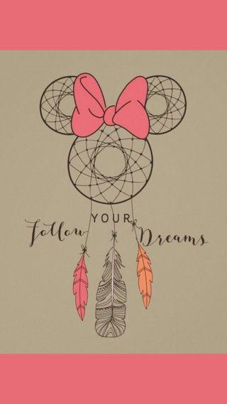 Обои на телефон твой, мечты, розовые, минни, маус, ловец снов, follow your dreams