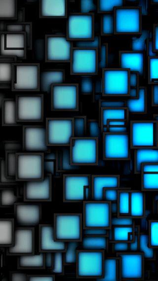 Обои на телефон кубы, синие, абстрактные