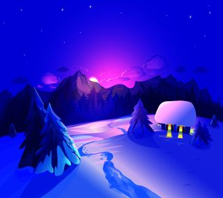 Обои на телефон зима, ночь