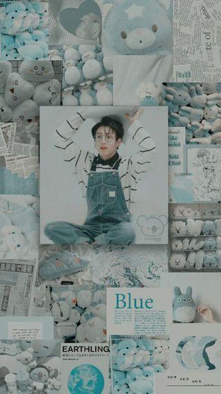Обои на телефон коллаж, эстетические, чонгук, синие, бтс, bts