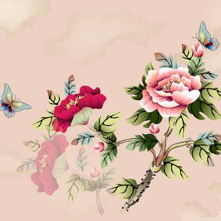 Обои на телефон китайские, картина, цветы, абстрактные, chinese flower