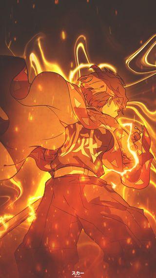 Обои на телефон фотошоп, молния, зеницу, желтые, демон, аниме, zenitsu agatsuma