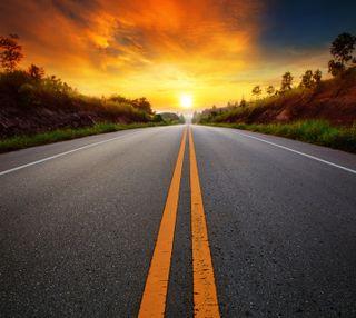 Обои на телефон солнечный свет, природа, закат, дорога
