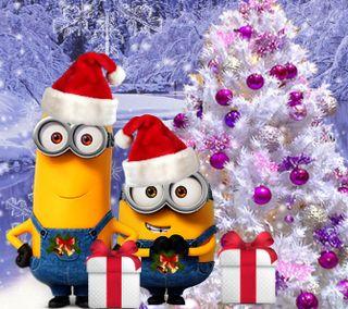 Обои на телефон счастливое, санта, рождество, мультики, миньоны, зима, 1440x1280px