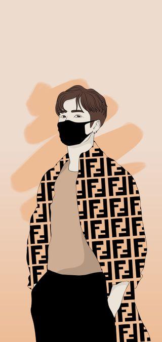 Обои на телефон рисунки, певец, кпоп, знаменитость, арт, аниме, kpop, jackson wang, got7, art