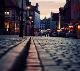 Обои на телефон улица, прекрасные, огни, люди, красочные, закат, город, hd