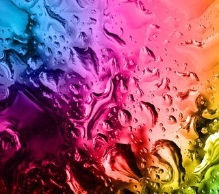 Обои на телефон мокрые, цветные, стекло, капли