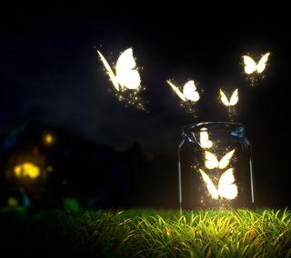 Обои на телефон стекло, светящиеся, ночь, насекомое, бабочки, night glow, jar