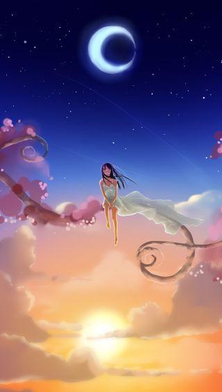 Обои на телефон элегантные, луна, дерево, девушки, аниме, niiiiiiiice 91