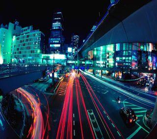 Обои на телефон улицы, размытые, огни, неоновые, busy streets, busy neon streets