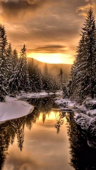 Обои на телефон река, небо, зима, закат