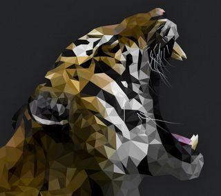 Обои на телефон многоугольник, тигр, кошки, животные, абстрактные, 3д, 3d