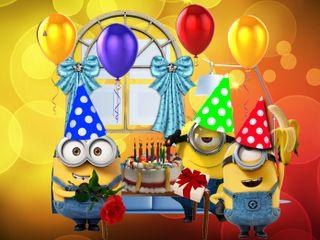 Обои на телефон шарики, день рождения, счастливые, мультики, миньоны, minions birthday, 640x480px