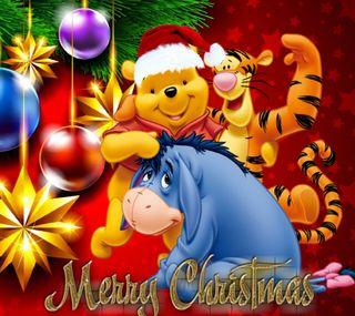 Обои на телефон mery christmas, winnie pooh, рождество, мультфильмы, счастливое, пух, винни