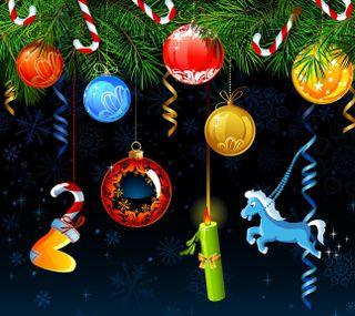 Обои на телефон празднование, шары, санта, рождество, праздник, новый, 2014