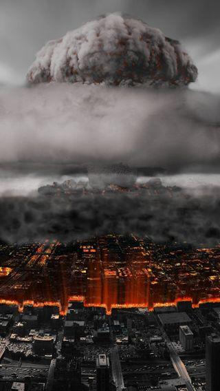 Обои на телефон взрыв, облака, город, nuke
