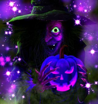 Обои на телефон ведьма, хэллоуин, тыква, тема