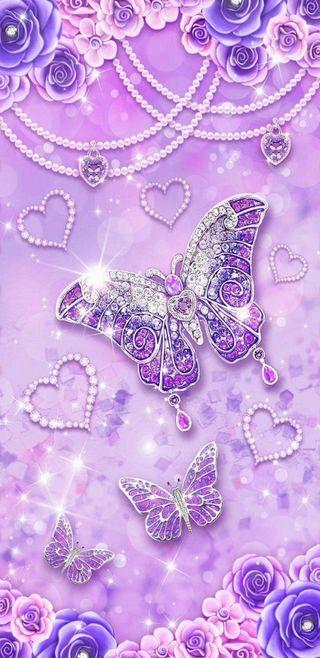 Обои на телефон фиолетовые, цветы, симпатичные, сердце, блестящие, бабочки, crystalbutterflies