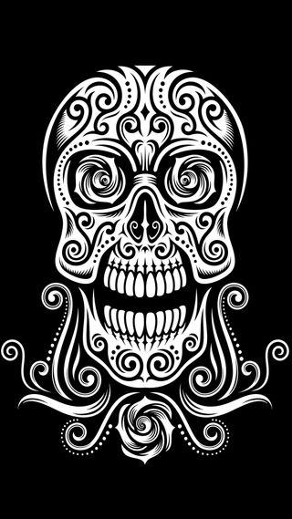 Обои на телефон племенные, черные, череп, тату, дизайн, векторные, абстрактные