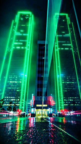 Обои на телефон техно, городские, огни, ночь, неоновые, небо, здания, город, sky scraper, nightlife, neon sky scraper
