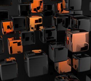 Обои на телефон креативные, черные, фрактал, лучшие, кубы, иллюзии, дизайн, абстрактные, 3д, 3d black cubes, 3d