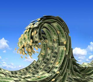 Обои на телефон доллары, деньги, волна, coins