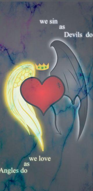 Обои на телефон дьявол, сердце, любовь, дизайн, грех, ангелы, ангел, love, devils and angels