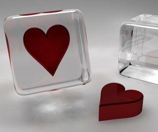 Обои на телефон куб, сердце, коробка