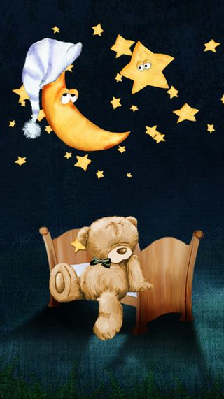 Обои на телефон тедди, история, ночь, медведь, луна, крутые, звезды, другие, anim
