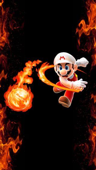 Обои на телефон нинтендо, огонь, марио, грани, nintendo, mario fireball edge