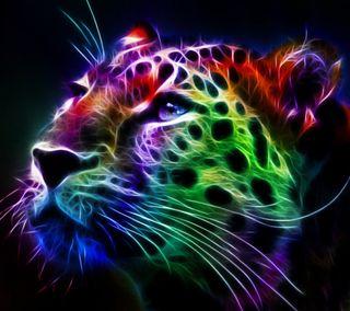 Обои на телефон фрактал, тигр, красочные, абстрактные