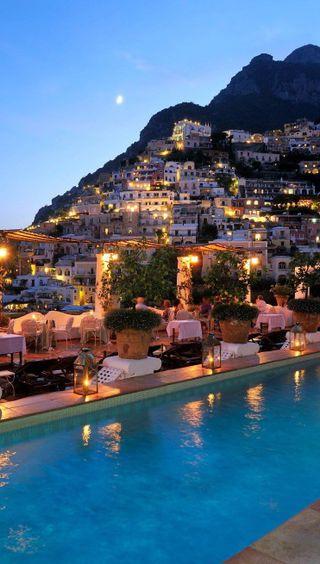 Обои на телефон берег, pool, amalfi coast, amalfi
