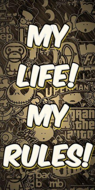 Обои на телефон featured, my life my rules, жизнь, мультфильмы, стена, комиксы, рисунки, отношение, мой, популярные, в тренде, арт, правила