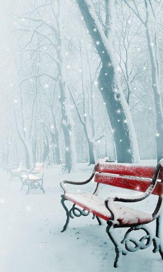 Обои на телефон парк, снег, зима, winter park, park benches