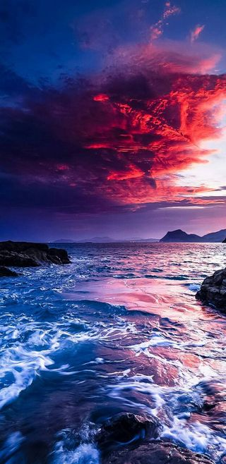 Обои на телефон misty, hd, небо, море, закат, океан, ультра, сумерки, облачно