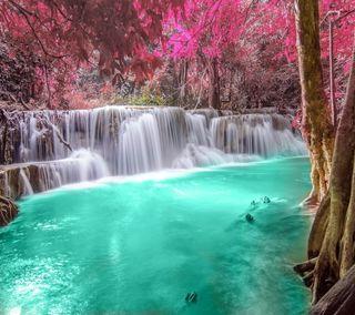Обои на телефон изумруд, водопад, река, осень, лес